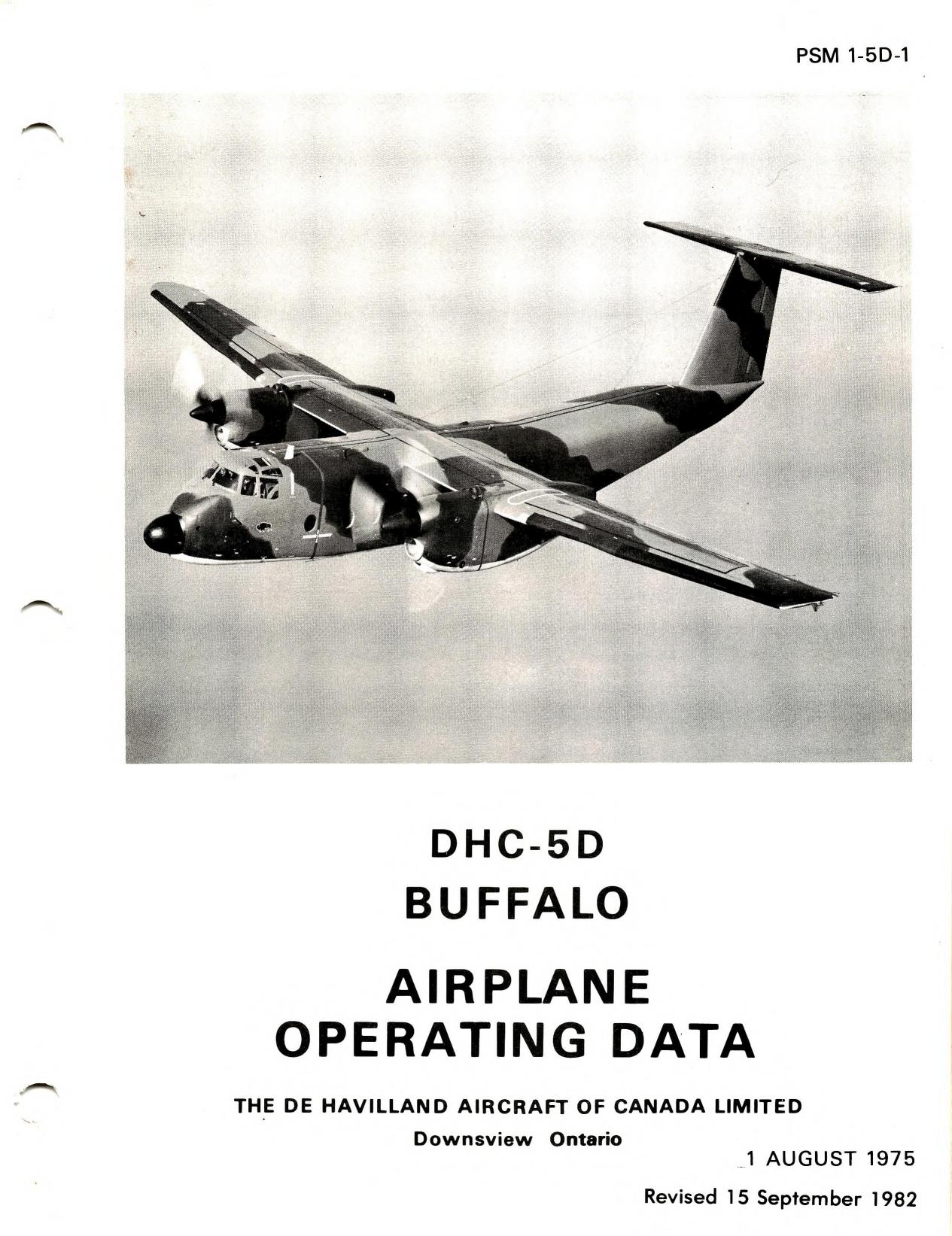 DHC-5D Buffalo airplane operating data